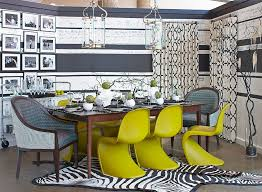 view in gallery chairs along with simple accents bring bold lime green to this dining e design