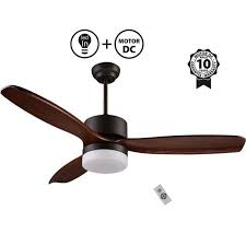 dc motor ceiling fan 132 cm solid wood blades led light for large