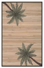 palm tree handwoven bamboo rug beige and green