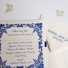 Traditional Wedding Invitation French Blue Traditional Wedding Invitation By Claryce Design