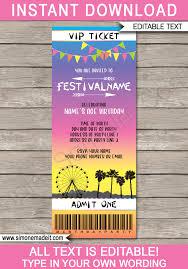 Party Ticket Invitations Impressive Printable Coachella Party Ticket Invitation Template Festival Invite