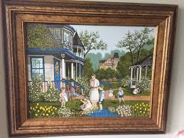beautiful h hargrove original painting signed framed victorian collectible