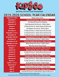 2019 2020 Kidsco School Year Calender Kidsco Online