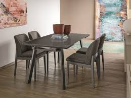 modern giove 160 gl top extending dining table with metal legs by target point