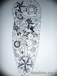 черно белый эскиз тату рукав на руку 11032019 001 Tattoo Sketch