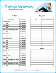 printable and customizable 10 minute abs workout chart