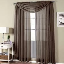abri chocolate rod pocket crushed sheer curtain panel
