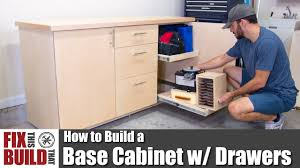 How To Build A Base Cabinet With Drawers Diy Shop Storage Youtube