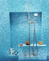 blue tile shower bathroom simple ideas mosaic tiles subway bathrooms i43 shower