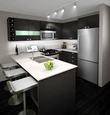 modern white and gray kitchen. Kitchen, Modern Minimalist Kitchen Design With Grey Cabinets Plus White Appliances And Dark Wooden Gray R