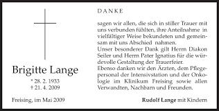 Traueranzeigen von Brigitte Lange   trauer.merkur.de