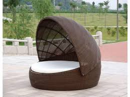 Bedroom:Unqiue Round Outdoor Bed Swing With Rattan Canopy Decorating Ideas  Classy Outdoor White Bed