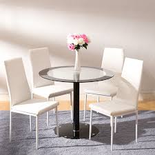details about circle glass dining table round pedestal 4 faux leather chairs set home office