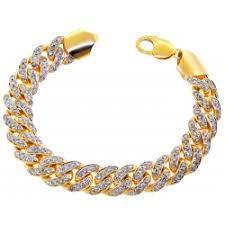 10k yellow gold 7 55 ct diamond miami cuban bracelet 13 mm