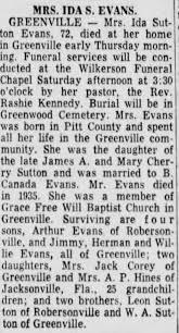 Obituary for Ida Sutton EVANS (Aged 72) - Newspapers.com