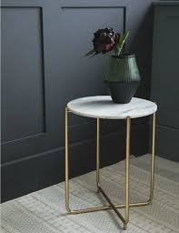 white marble side table at rose grey