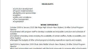 Professional After School Program Director Resume Templates