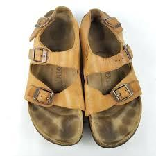 details about birkenstocks milano brown leather sandal shoe 38 eu 7 us narrow heel strap tan