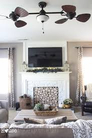 2 faux log fireplace entertainment center
