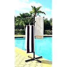 outdoor towel racks free standing stand com brown resin wicker pool spa rack and towel tree outdoor pool rack