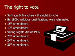 the candidate conclusion the candidate conclusion midterm essay  5 the right to vote suffrage franchise the right to vote by 1800s religious qualifications were eliminated 15th amendment 19th amendment voting rights