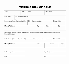 Dmv Printable Bill Of Sale Bill Of Sale For A Vehicle Template Auto Bill Sales Template