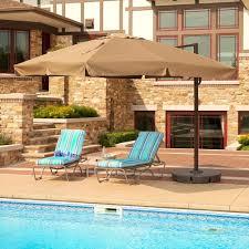 island umbrella santorini ii 10 ft square cantilever with valance patio umbrella in stone sunbrella