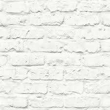 Contemporary faux brick industrial rustic white home wallpaper R3704