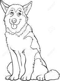 Black And White Cartoon Illustration Of Funny Siberian Husky ...