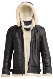 men s aviator raf b3 black hoo sheepskin fur leather er flying jacket front open