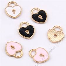 details about enamel gold plated charms love heart lock small pendants jewelry making 991
