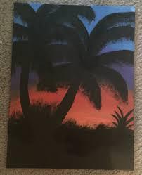 beautiful palm tree silhouette painting
