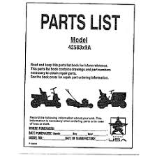 murray murray lawn mower 16 5 h p 42 parts model 42583x9a cover