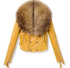 leather fur jacket fur leather jacket yellow mustard leather jacket mustard
