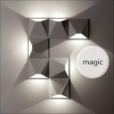 diy wall lighting. Creative Fashion Magic DIY 3D Geometric Aluminum Led Wall Lamp For Living Room TV Background Aisle Diy Lighting