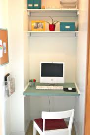 Furniture Green Stained Wooden Floating Desk Under Wall Mount Bookshelf  Combined With White Chair Computer Small