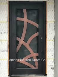 exterior wrought iron entry door with tempered glass and window design