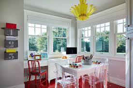 gray home office. Flooring And Chair Enliven The Gray House Workplace With A Splash Of Red [Style: Home Office N