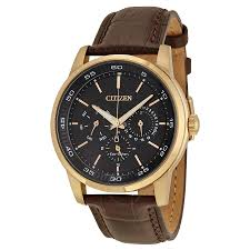 citizen dress eco drive black dial brown leather men s watch bu2016 08e