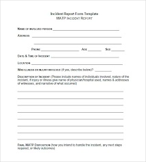 Child Care Accident Report Blank Incident Template Free Format