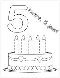 School Taart Kleurplaat Met 5 6 Kaarsen Dejachthoorn