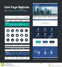 Vector Image Format In Ui Design One Page Website Design Template And Flat Ui Ux Elements