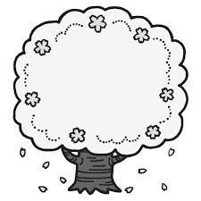 桜の木モノクロお花見春枠ふきだし無料イラスト素材