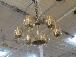 vintage mid century modern 6 light brass glass chandelier 350