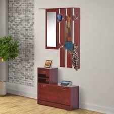 Coat Rack With Mirror Entryway Storage Shoe Bench Coat Rack Mirror Hall Tree Stand 59