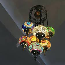 pendant light handmade mosaic stained glass corridor stairwell cafe restaurant hanging lamp turkish lights uk