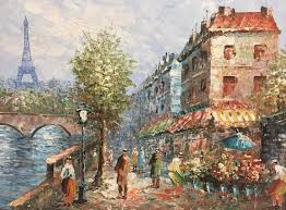 w burnett paris street scene original oil painting on canvas framed fine art 1900131938