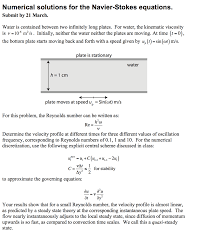 numerical solutions for the navier stokes equation