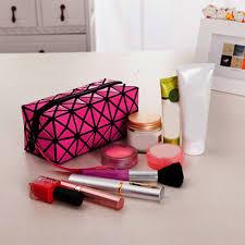 nice fashion geometric zipper cosmetic bag women laser flash diamond leather makeup bag las cosmetics organizer new trend