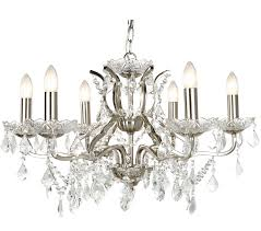 searchlight paris 6 light chandelier satin silver finish with clear crystal drops trim 8736 6ss